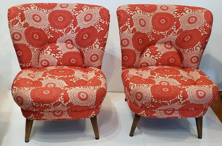 Attractive pair of low lounge or slipper chairs from Sweden, circa 1950.