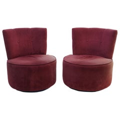 Pair of Vladimir Kagan Pucci La Ronde Style Swivel Chairs
