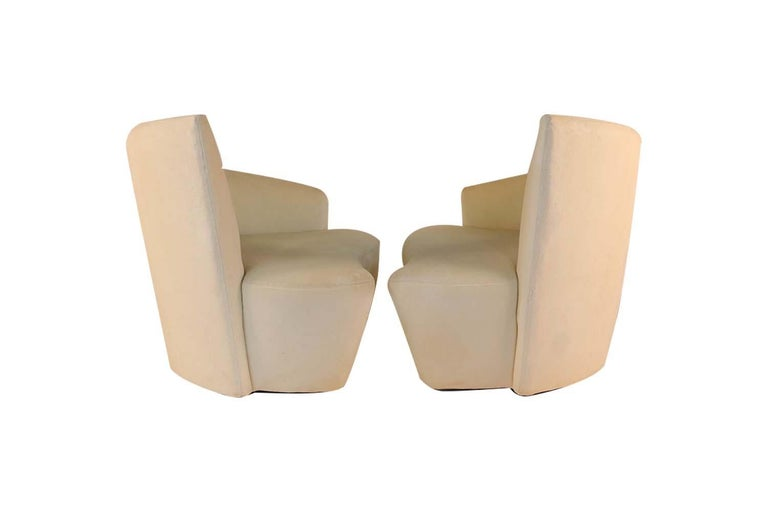 Upholstery Pair of Vladimir Kagan Weiman Preview Bilbao Swivel Lounge Chairs For Sale