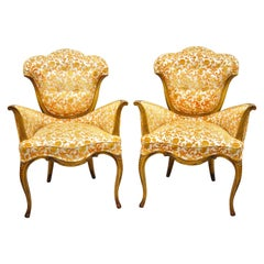 Pair of Hollywood Regency French Style Orange Fabric Fireside Lounge Arm Chairs