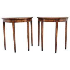 Pair of Walnut and Ebony Inlaid Console Tables