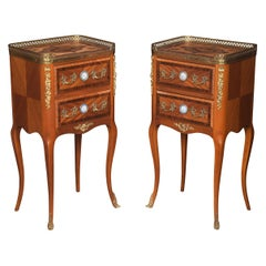 Pair Walnut and Gilt Metal Bedside Cabinets
