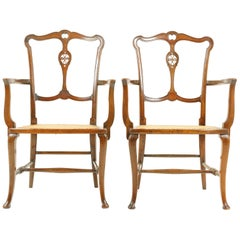 Antique Walnut Armchairs, Pair of Armchairs, Caned Seats, Scotland 1920, B1700