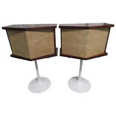 Pair of Walnut Bose Speakers Equalizer Tulip Base by Eero Saarinen