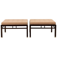 Pair of Walnut Midcentury Benches