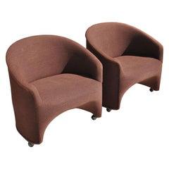 Pair of Ward Bennett Barrel Lounge Chairs