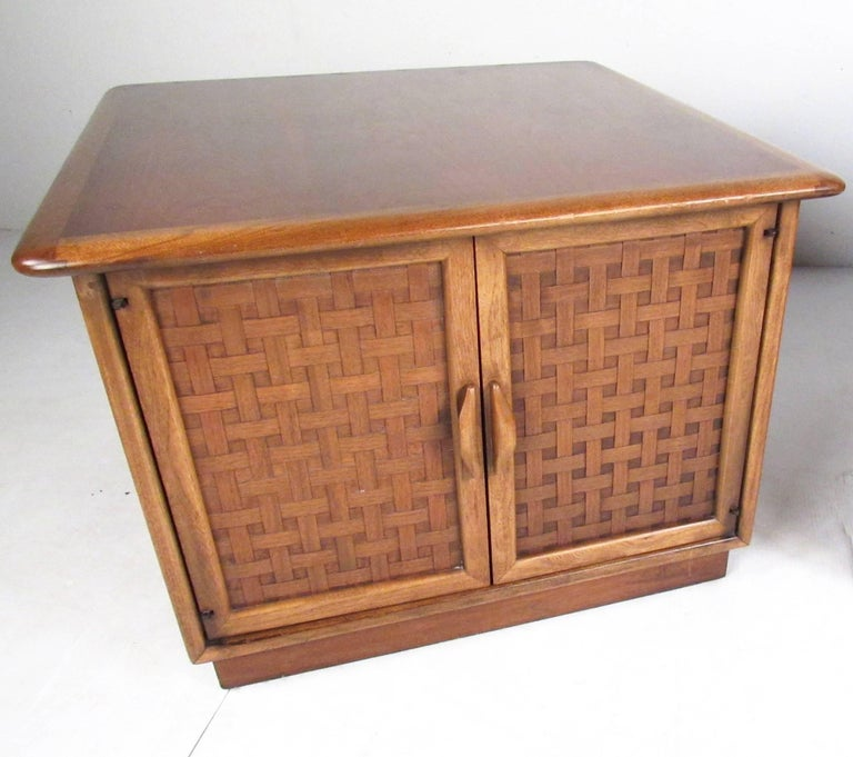 Mid-Century Modern Pair of Warren Church End Table Cabinets for Lane For Sale