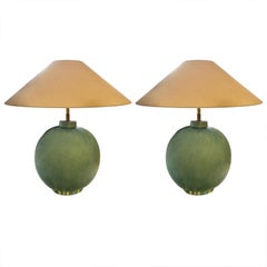 Pair of Washed Turquoise Lamps, China, Contemporary