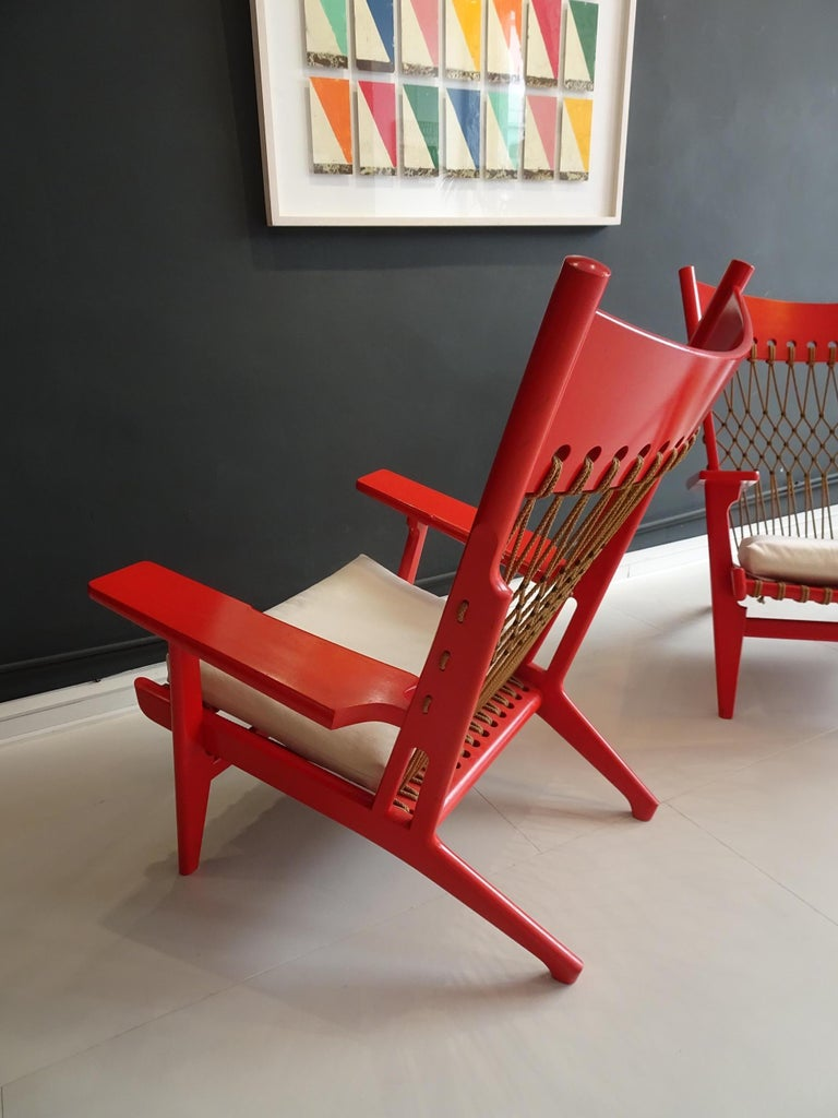 Pair of Web Lounge JH 719 Chairs by Hans Wegner For Sale 3