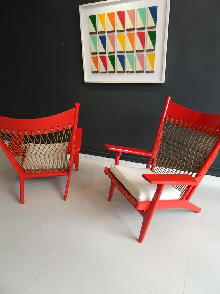 Pair of Web Lounge JH 719 Chairs by Hans Wegner For Sale 4