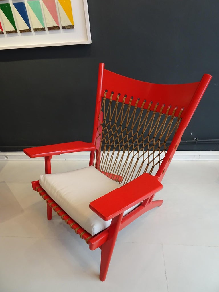 Pair of Web Lounge JH 719 Chairs by Hans Wegner In Good Condition For Sale In lyon, FR