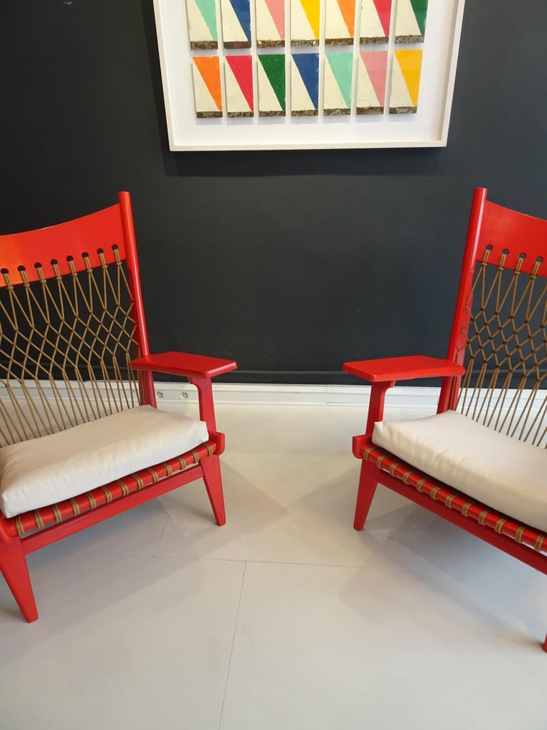 Mid-20th Century Pair of Web Lounge JH 719 Chairs by Hans Wegner For Sale