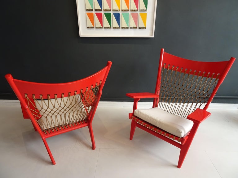 Pair of Web Lounge JH 719 Chairs by Hans Wegner For Sale 2