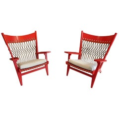 Pair of Web Lounge JH 719 Chairs by Hans Wegner