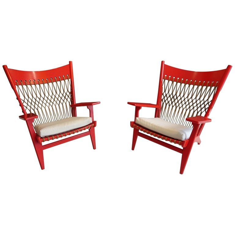 Pair of Web Lounge JH 719 Chairs by Hans Wegner For Sale