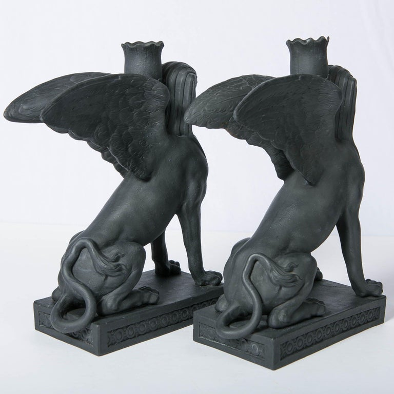 Pair of Wedgwood Egyptian Revival Black Basalt Sphinxes Made 18th Century For Sale 1