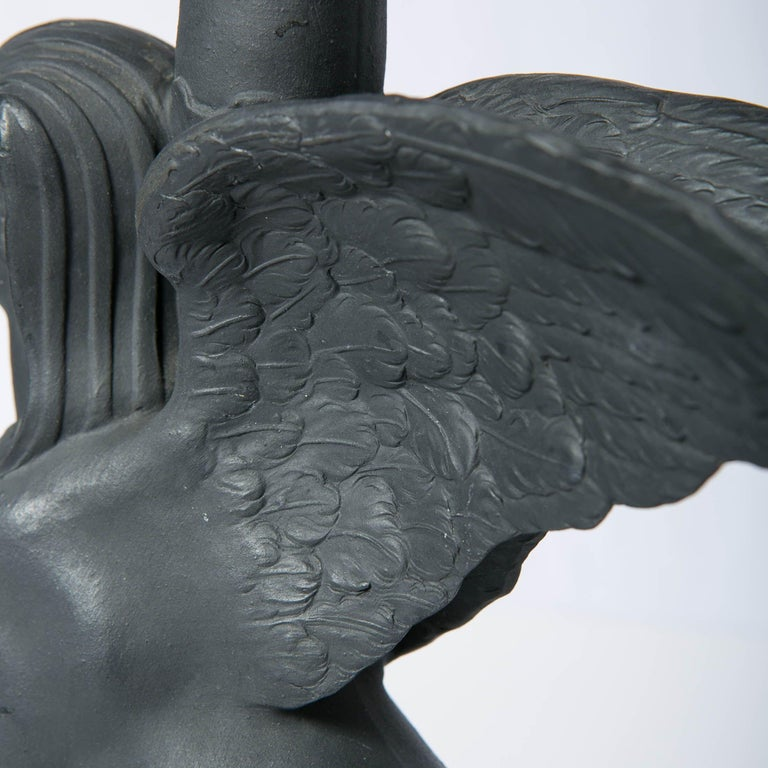 Pair of Wedgwood Egyptian Revival Black Basalt Sphinxes Made 18th Century For Sale 3