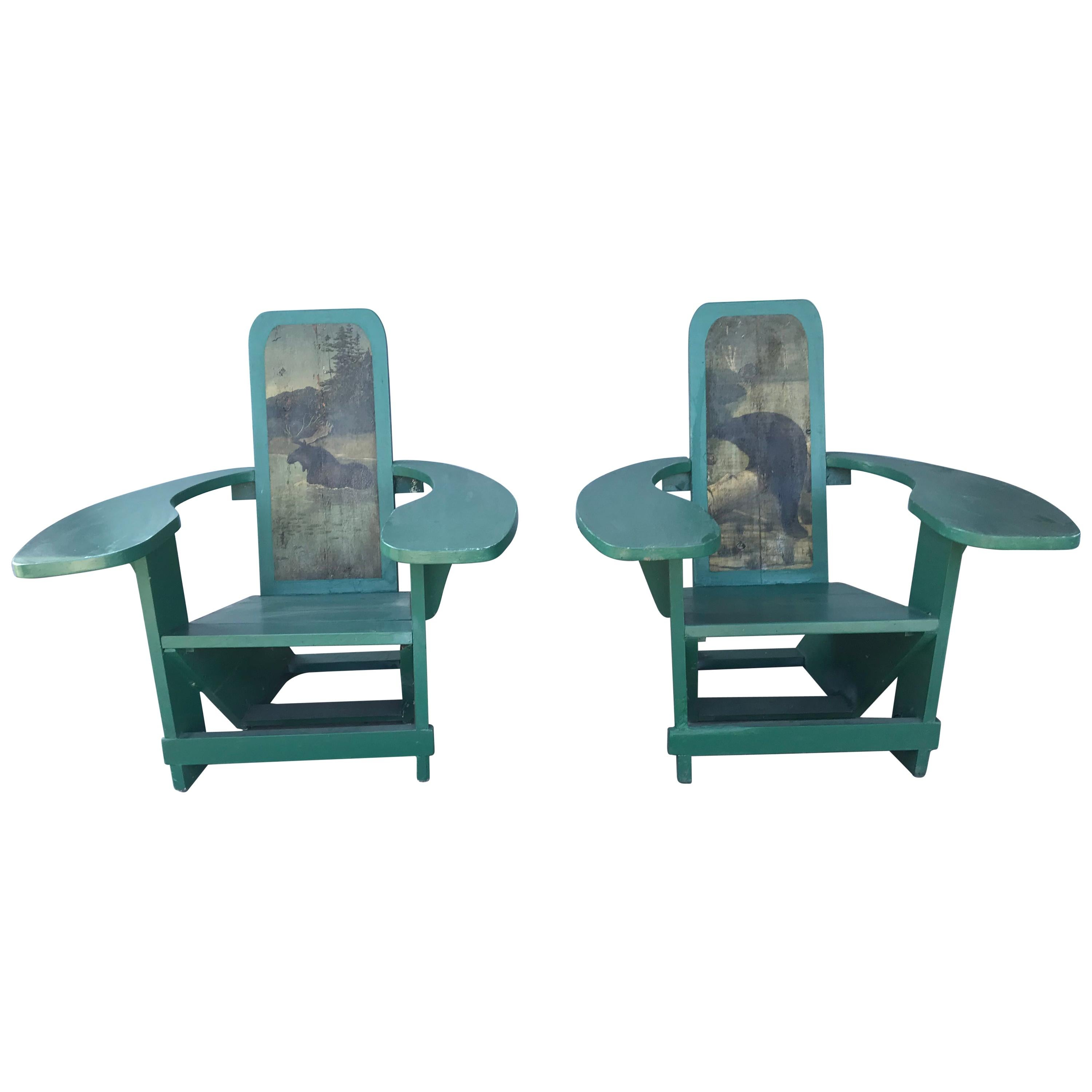 Pair of Westport Style Deck Chairs Hand Painted Backs, Exaggerated Arms