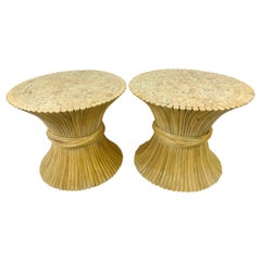 Pair of Wheat Sheath Bamboo McGuire Furniture End Tables