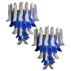 Pair of White and Blue Petals Murano Glass Chandeliers