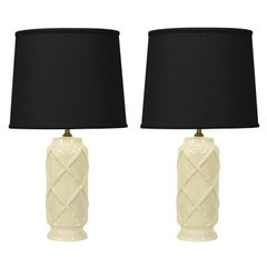 Pair White  Ceramic Bamboo Relief Table Lamps