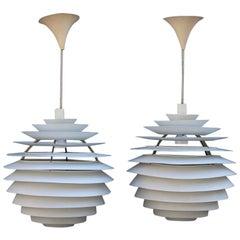 Pair White Chandelier PH Louvre Poul Henningsen Midcentury Design Snowball