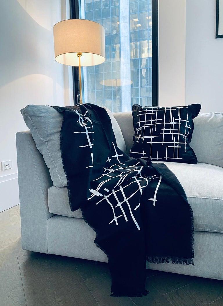 Pair White Criss Cross Black Silk Duchesse Satin Throw Pillows For Sale 3