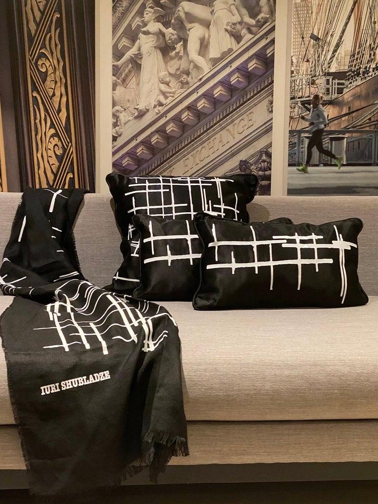 Pair White Criss Cross Black Silk Duchesse Satin Throw Pillows For Sale 4