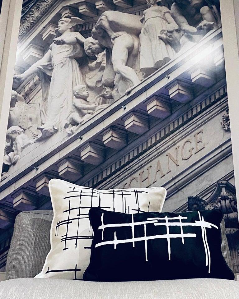 Pair White Criss Cross Black Silk Duchesse Satin Throw Pillows For Sale 5