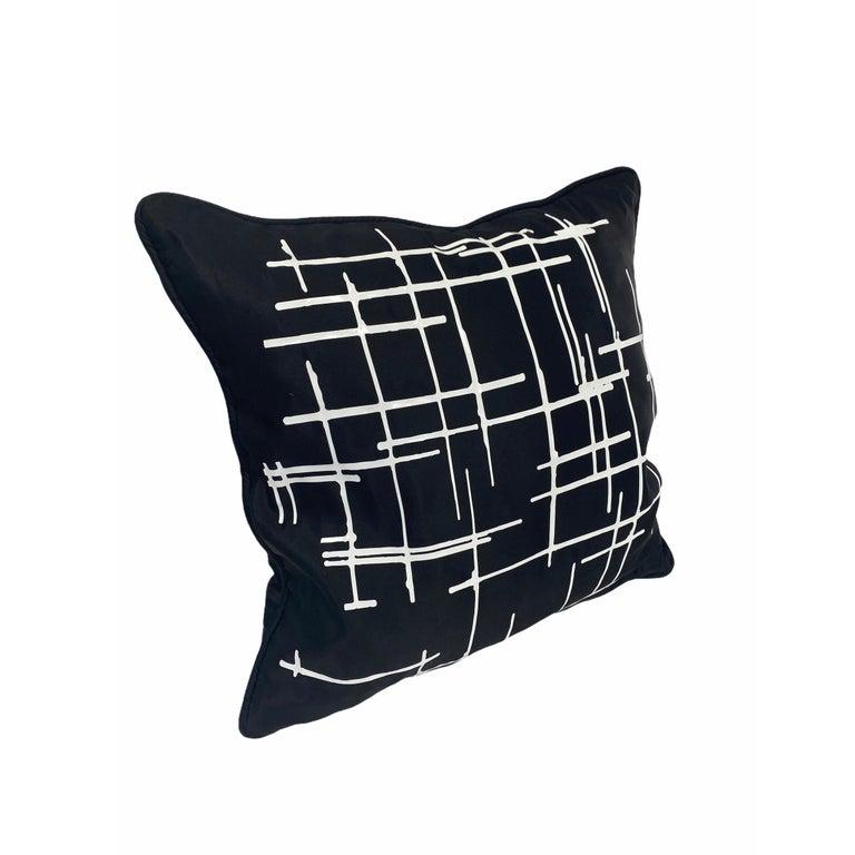 Minimalist Pair White Criss Cross Black Silk Duchesse Satin Throw Pillows For Sale