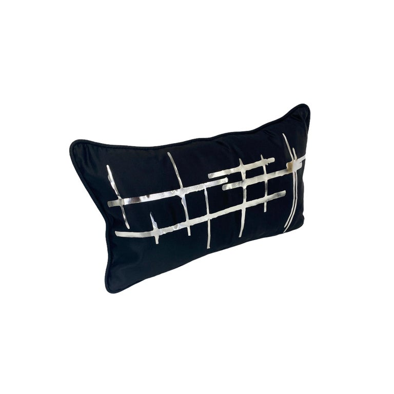 American Pair White Criss Cross Black Silk Duchesse Satin Throw Pillows For Sale