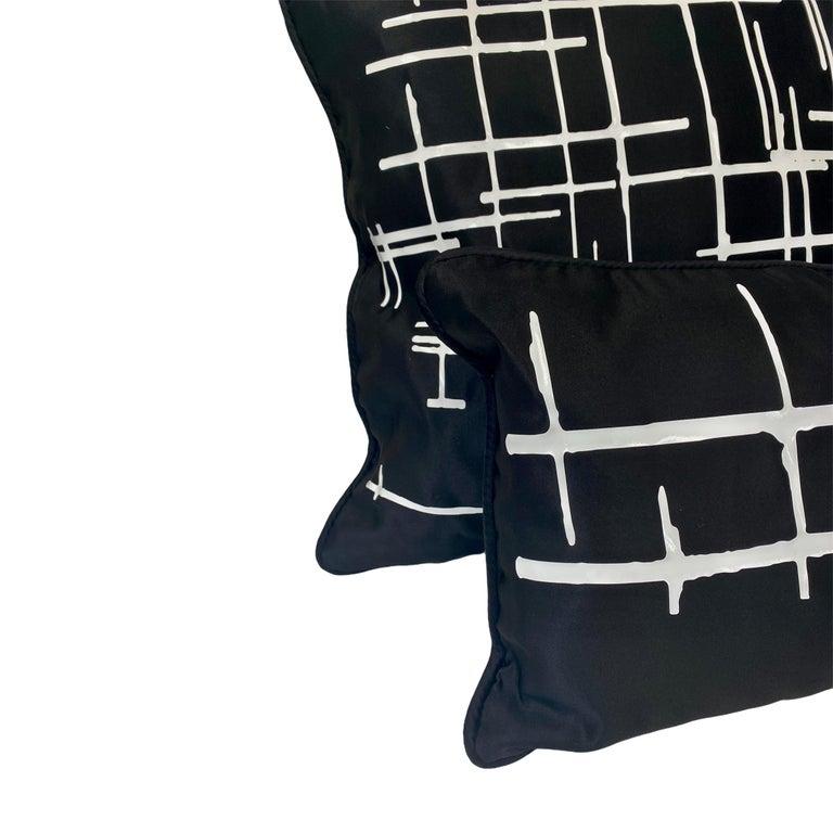 Appliqué Pair White Criss Cross Black Silk Duchesse Satin Throw Pillows For Sale