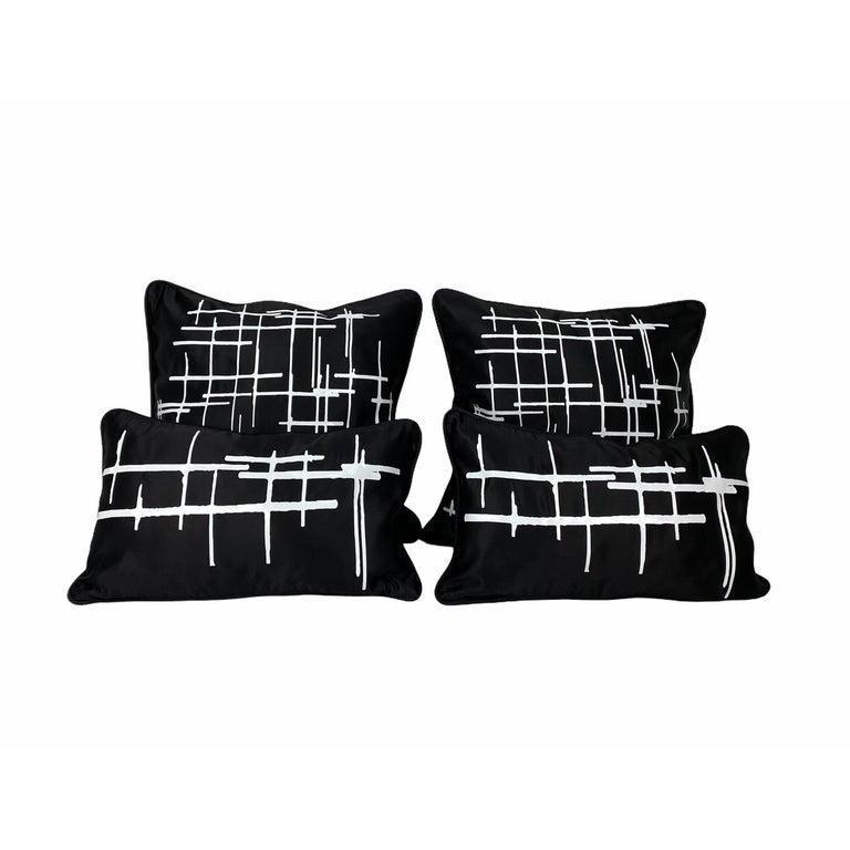 Pair White Criss Cross Black Silk Duchesse Satin Throw Pillows In New Condition For Sale In New York, NY