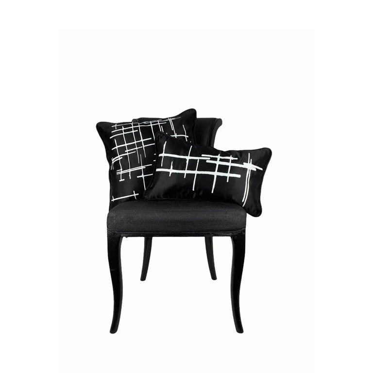 Fabric Pair White Criss Cross Black Silk Duchesse Satin Throw Pillows For Sale