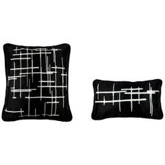 Pair White Criss Cross Black Silk Duchesse Satin Throw Pillows