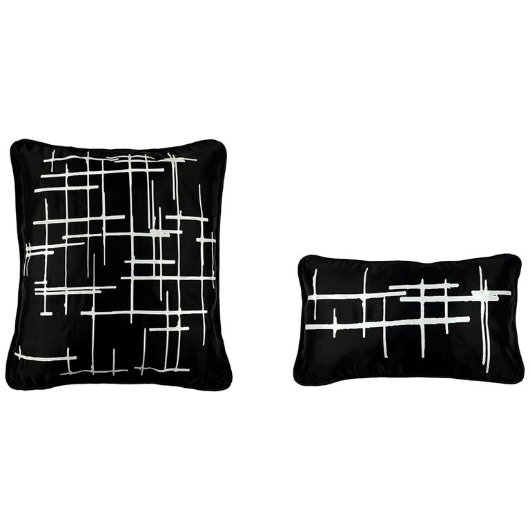 Pair White Criss Cross Black Silk Duchesse Satin Throw Pillows For Sale