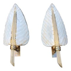 Pair White Gold Dust Sconces Leaf Barovier Mid-Century Italian Design Brass Part