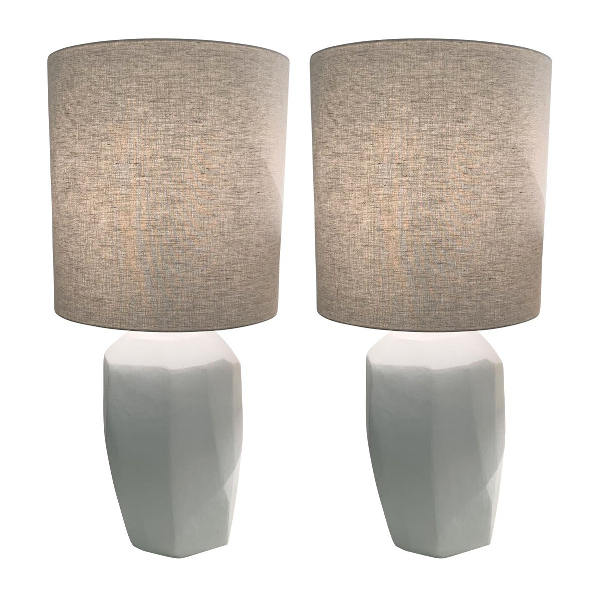 Pair of White Opaque Glass Cubist Design Lamps, Romania, Contemporary