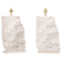 Pair White Plaster Table Lamps, Modern Quarry-Rock Design, Attributed to Sirmos