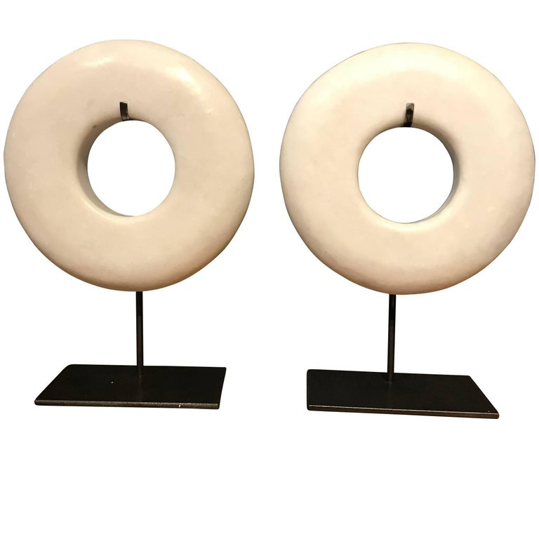 Pair of White Thick Ring Sculptures, China, Contemporary