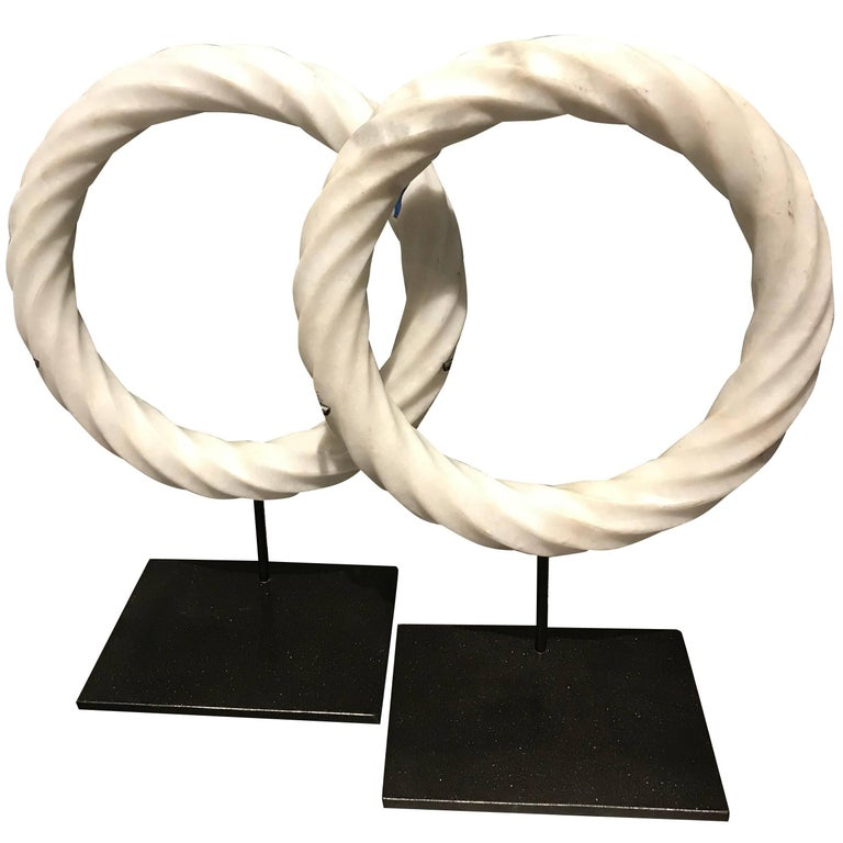 Pair of White Twisted Marble Ring Sculptures on Stands, China, Contemporary