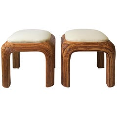 Pair of Wicker Pencil Reed Upholstered Stools or Benches after Gabriella Crespi