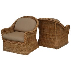 Pair of Wicker Works Braided Rattan Lounge Chairs