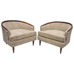 Wide Barrel Back Mid-Century Modern Club Lounge Chair after Milo Baughman, Pair
