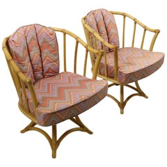 Pair of Willow and Reed Bamboo Swivel Chairs Attributed to Henry Olko