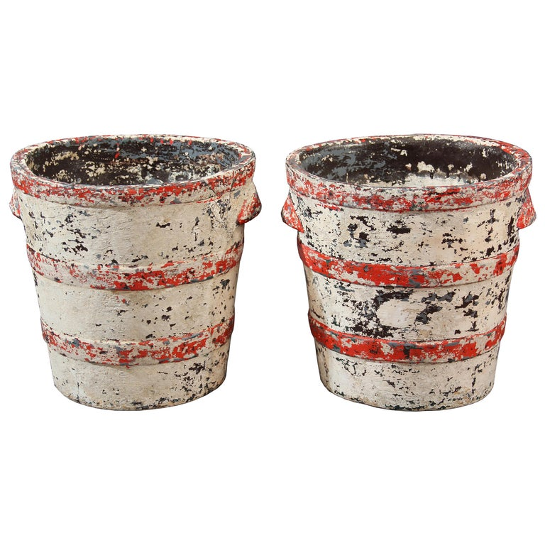 Pair of Willy Guhl Planters with Great Color and Patina For Sale