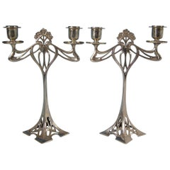 Pair of WMF Silver Plated Twin Branch Candelabra