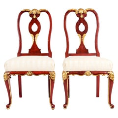 Pair Wood Framed / Gilt Design Detail Side Chairs
