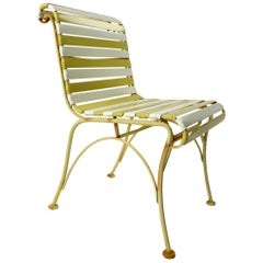 Pair of Wood Wrought Iron and Plastic Strap Garden Patio Poolside Lounge Chairs
