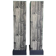 Pair of Wooden Columns in Black and White